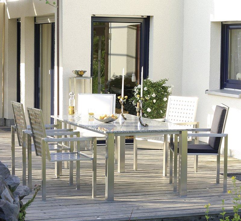 6er tisch mit granitplatte heidacker edelstahlm bel. Black Bedroom Furniture Sets. Home Design Ideas
